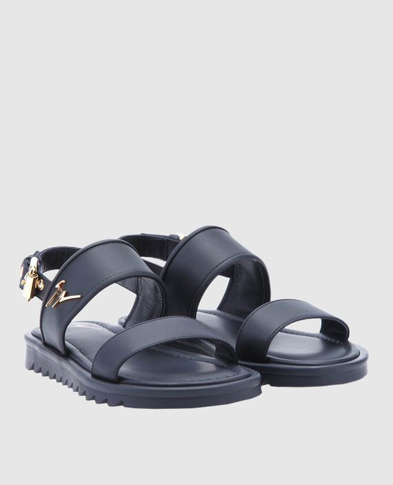 Детские черные кожаные сандалии hover