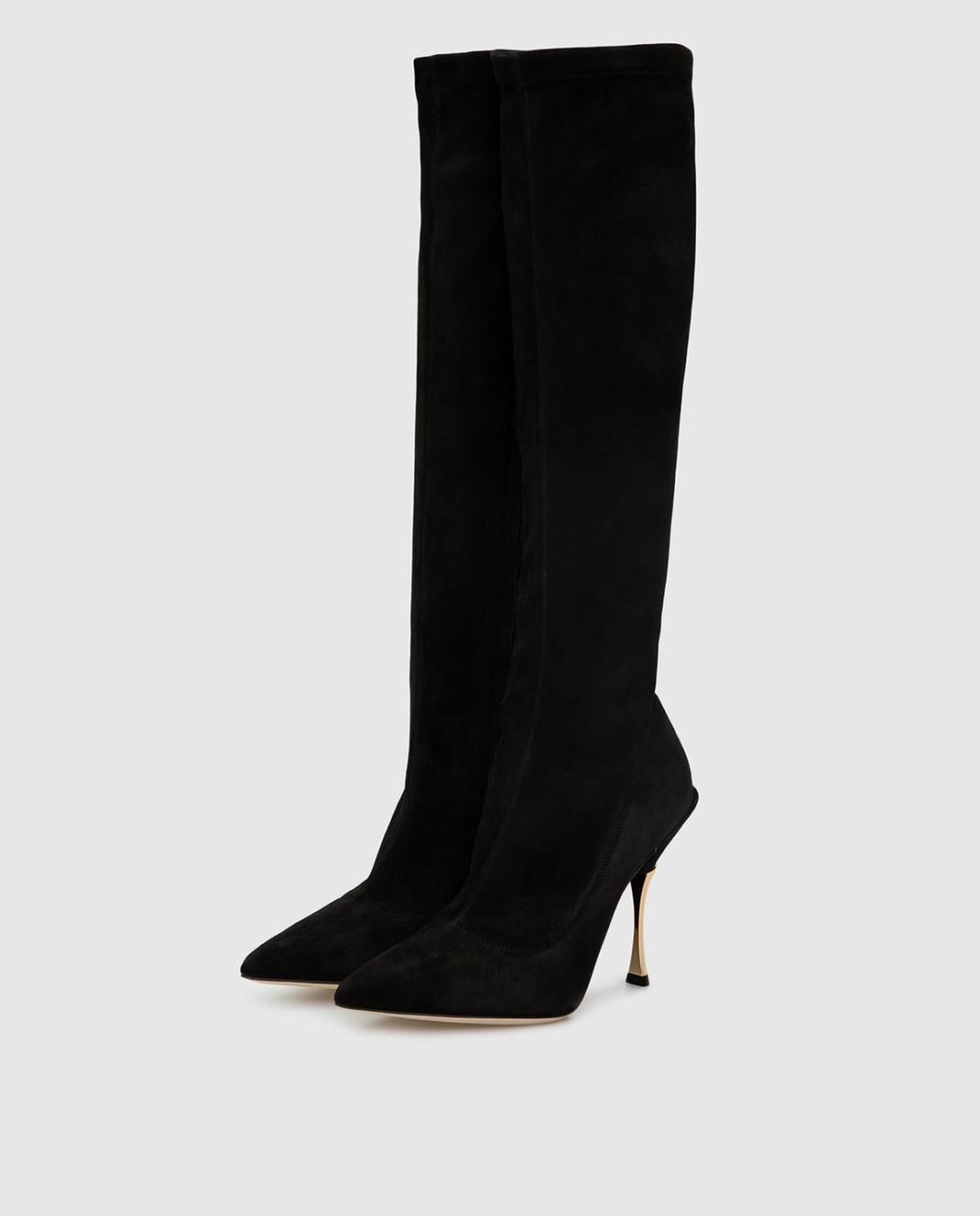 Dolce&Gabbana Черные замшевые сапоги CU0441AC700 изображение 3