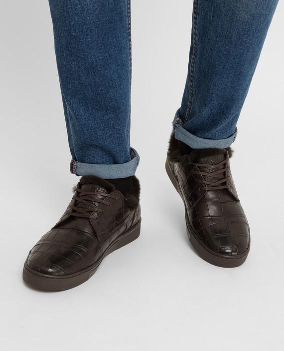 Темно-коричневые ботинки из кожи крокодила на меху hover