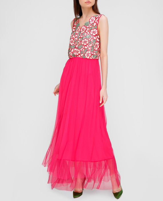 Розовое платье с кружевом hover