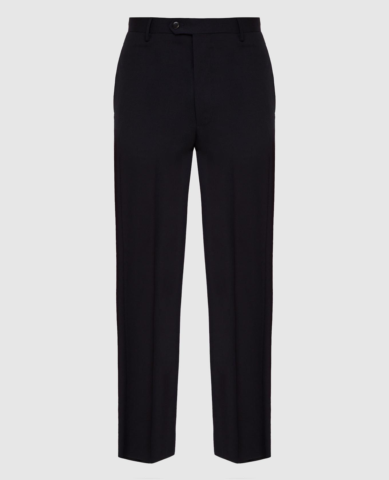Темно-синие брюки из шерсти