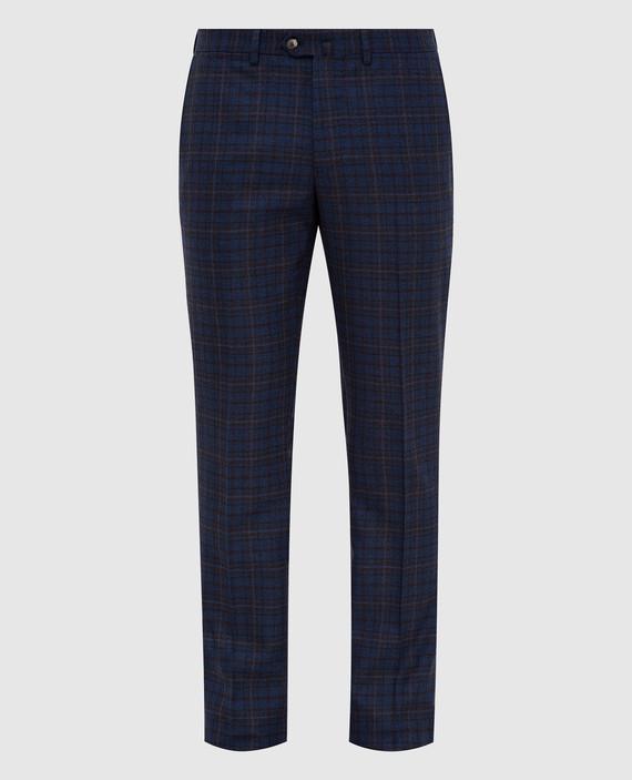 Синие брюки из шерсти