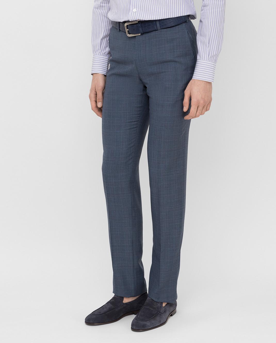 ISAIA Синие брюки из шерсти 0073153629F изображение 3