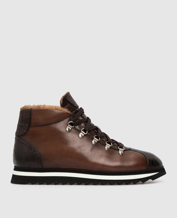Коричневые кожаные ботинки на меху