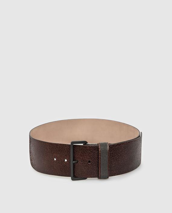 Темно-коричневый кожаный ремень
