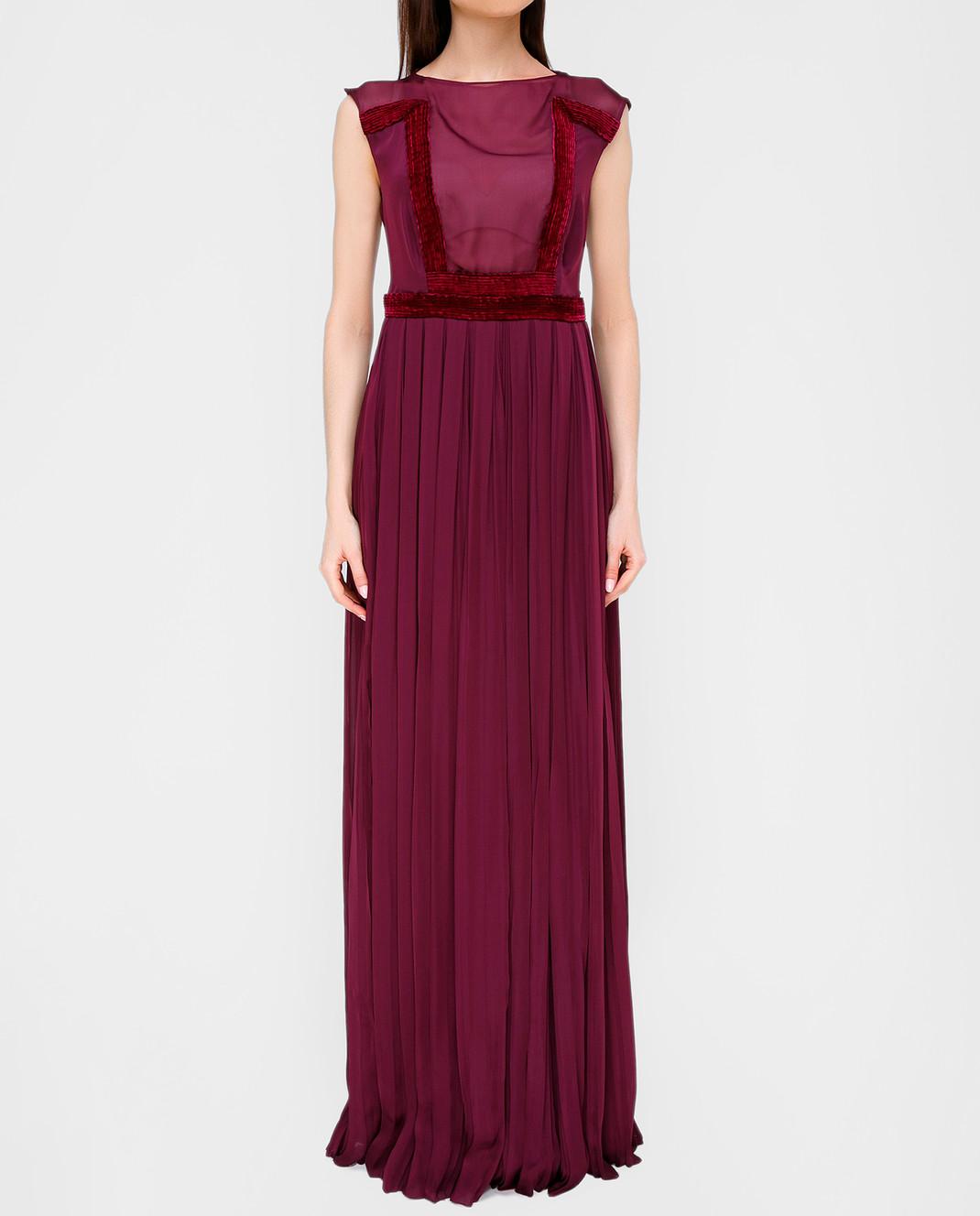 LARUSMIANI Бордовое платье из шелка 077581 изображение 3