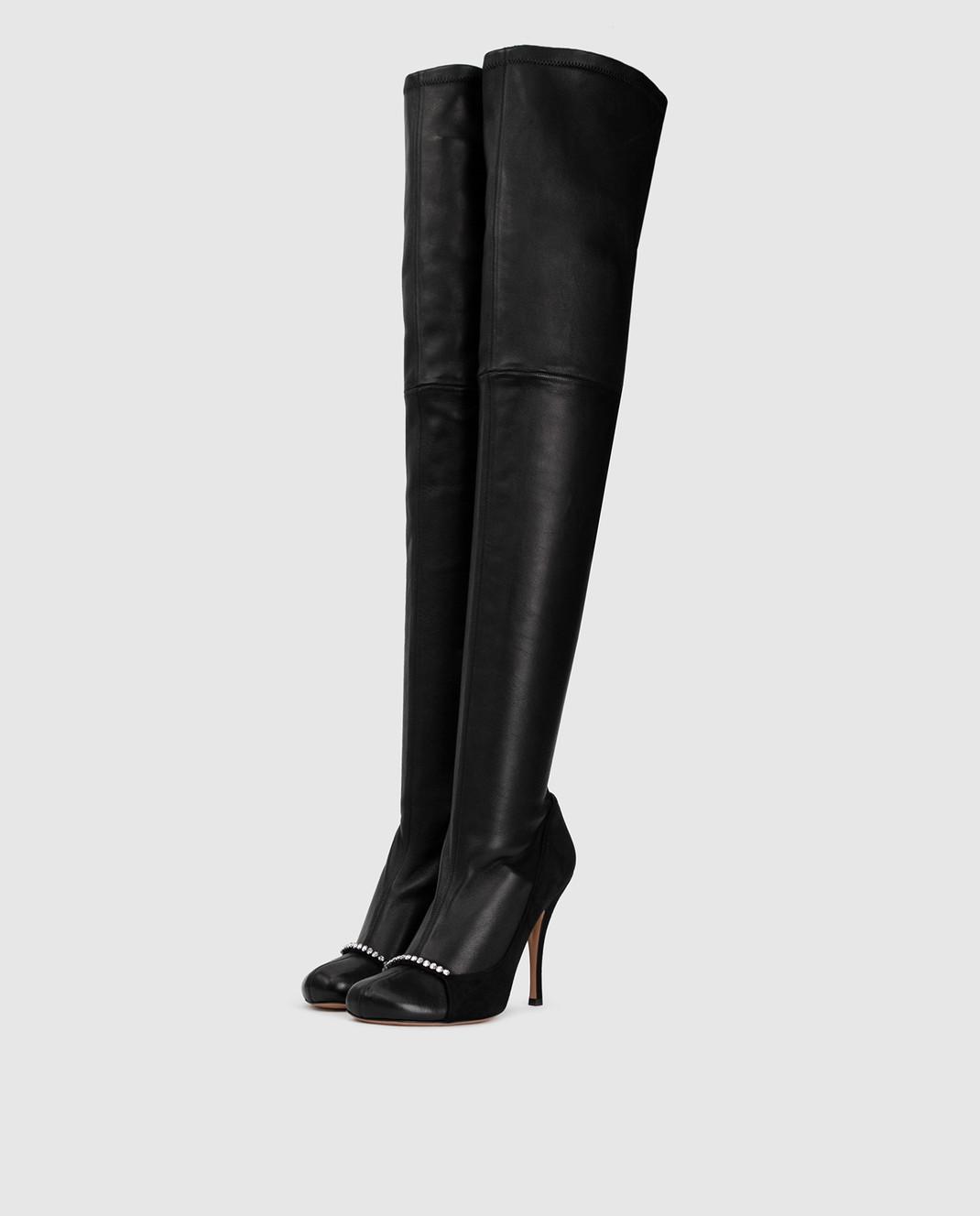 Valentino Черные кожаные ботфорты QW0S0I91PQM изображение 3