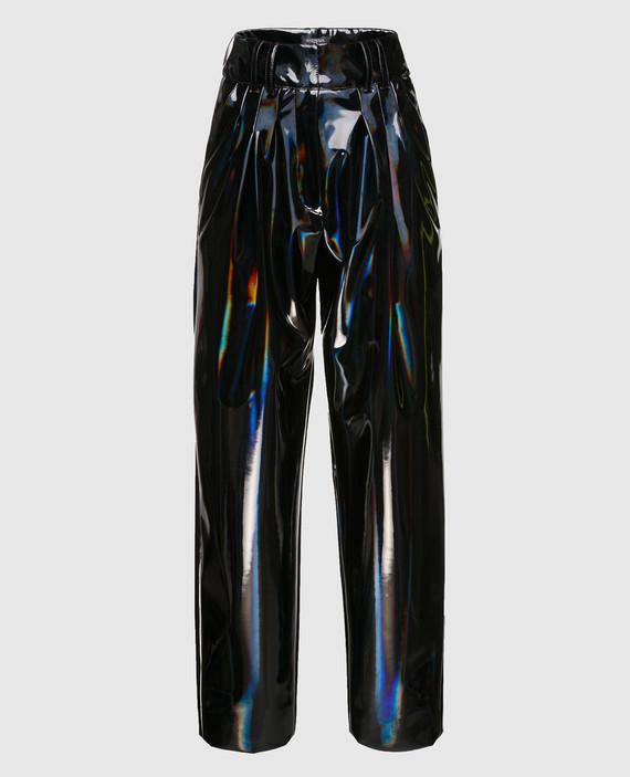 Черные лаковые брюки