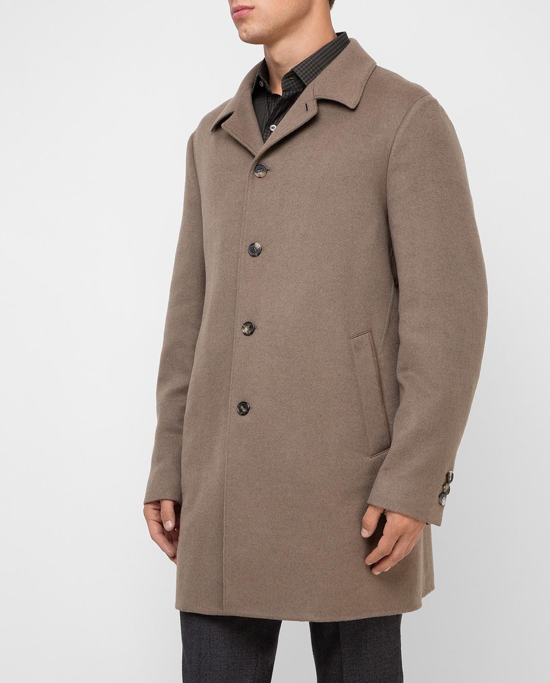 Loro Piana Темно-бежевое пальто из кашемира F1FAI2410 изображение 3