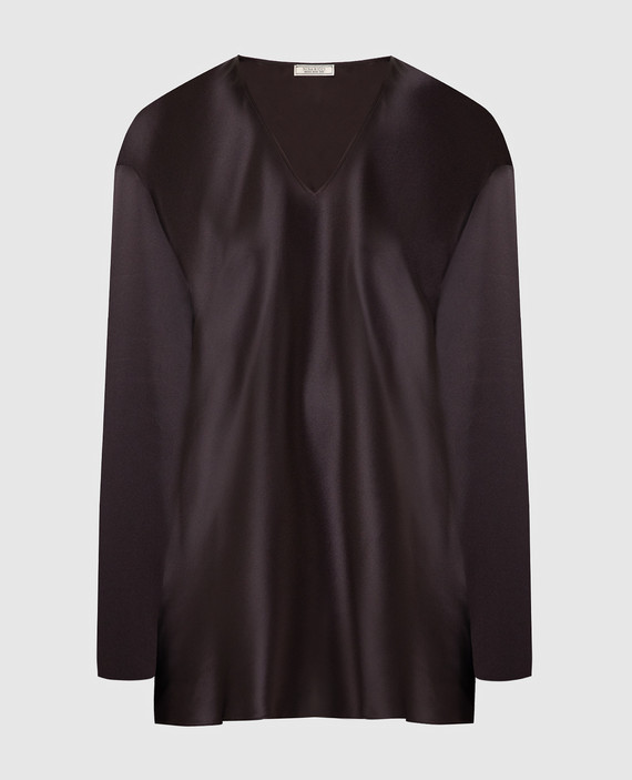 Темно-коричневая блуза из шелка