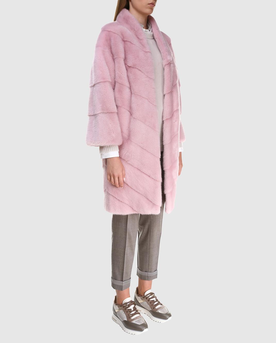 Florence Mode Розовая шуба из меха норки с поясом 18N139WHITE изображение 2
