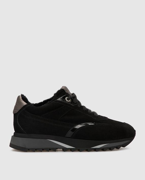 Черные замшевые кроссовки на меху