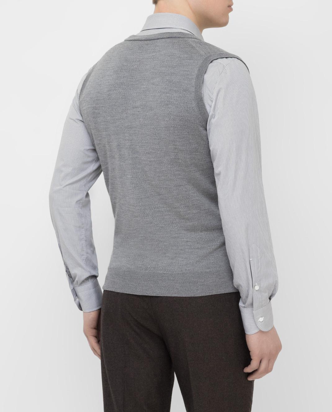 ISAIA Серый жилет из шерсти MG7051YP005 изображение 4