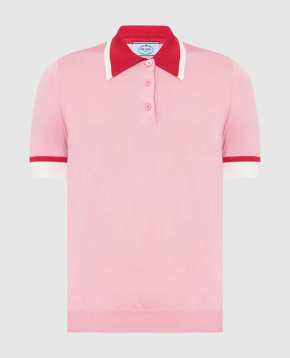 Розовое поло из шелка