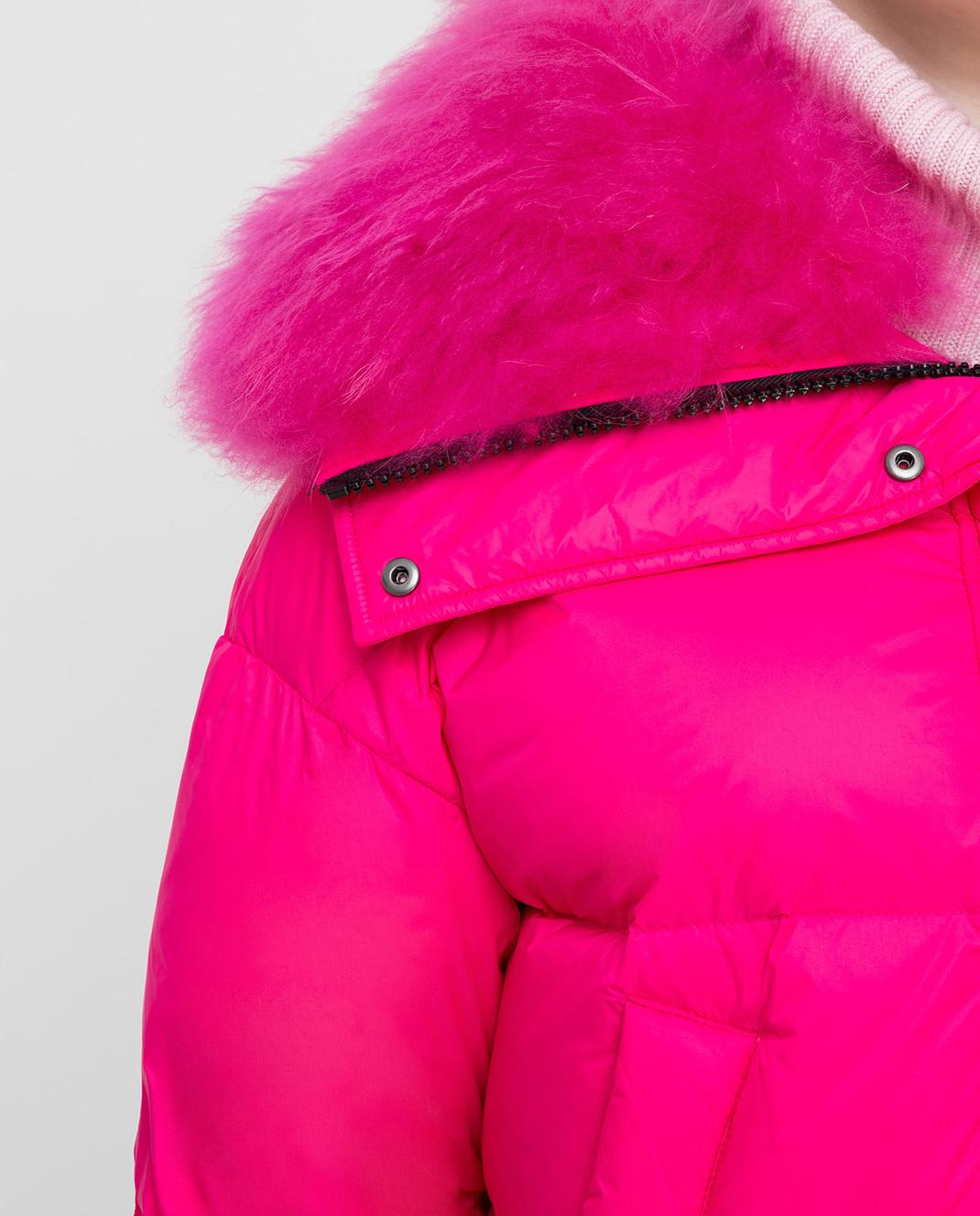 Yves Salomon Army Розовый пуховик с мехом ягненка изображение 5