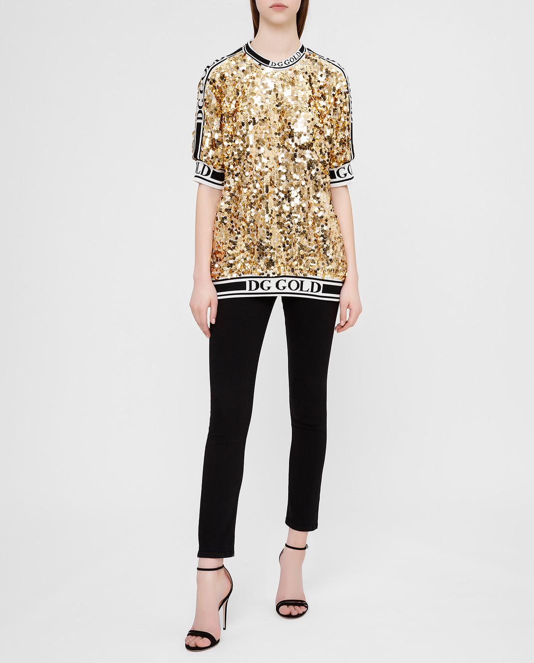 Dolce&Gabbana Золотистая футболка изображение 2