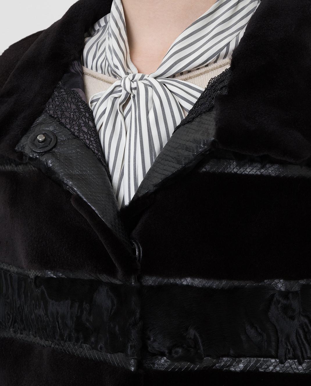 Florence Mode Черная шуба из меха норки и меха ягненка L1434 изображение 5