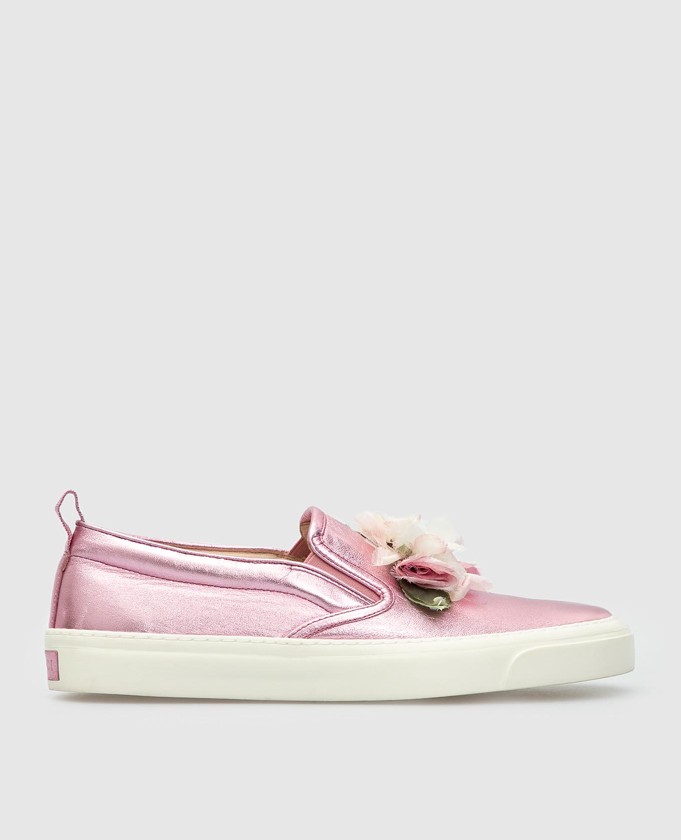 Розовые кожаные слипоны