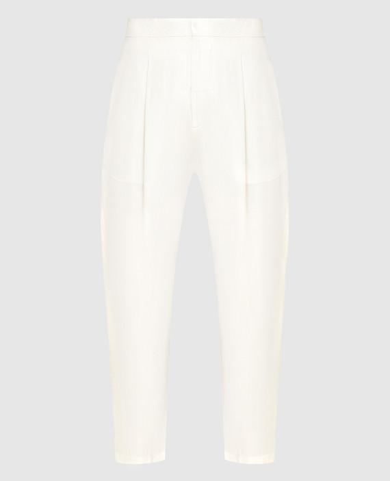 Светло-бежевые брюки из шелка