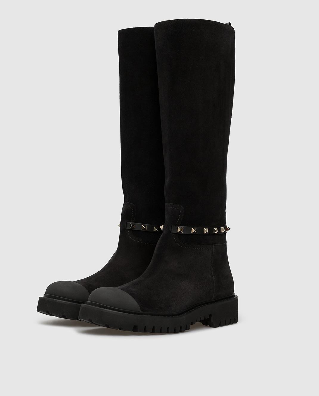 Valentino Черные замшевые сапоги SW0S0S20IFW изображение 3