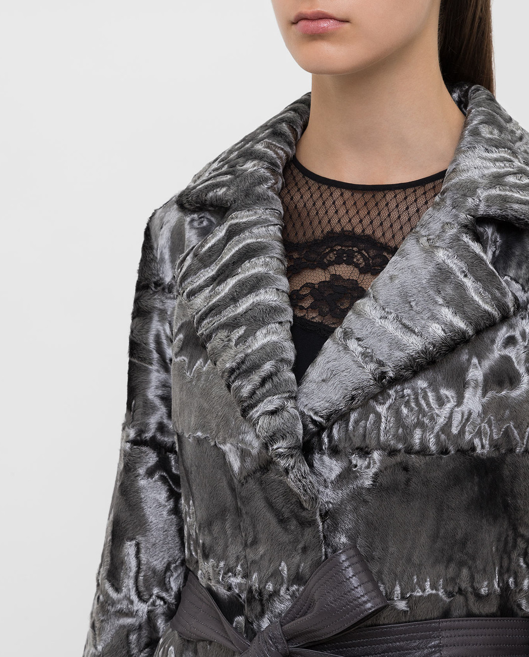 Florence Mode Серебристая шуба из меха ягненка L1804Pst изображение 5
