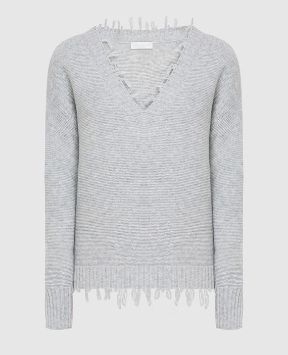 Серый пуловер из шерсти, шелка и кашемира