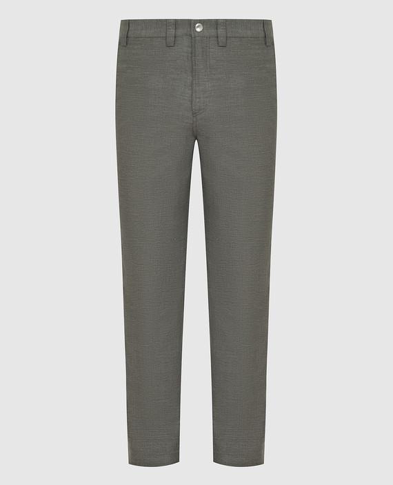 Серые брюки из льна и шерсти