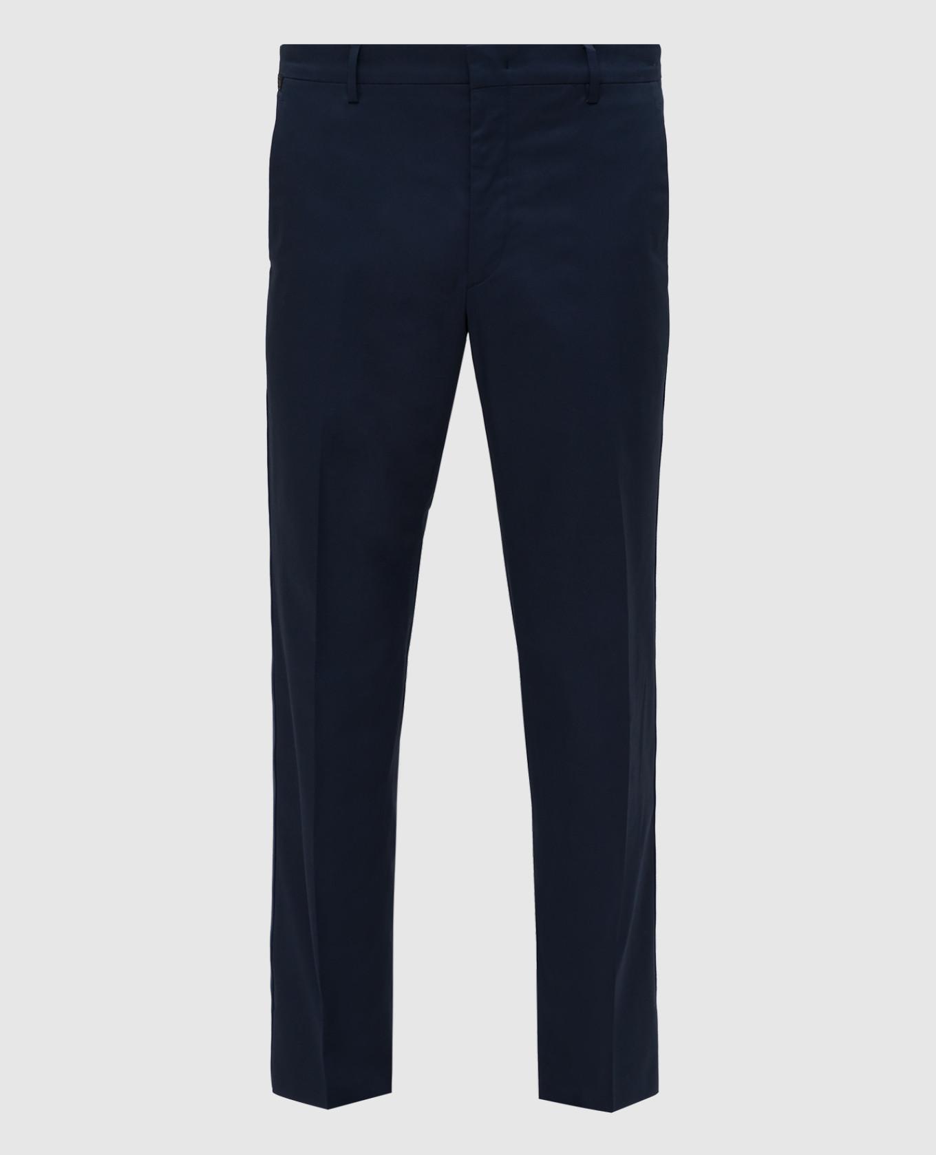 Темно-синие брюки с лампасами