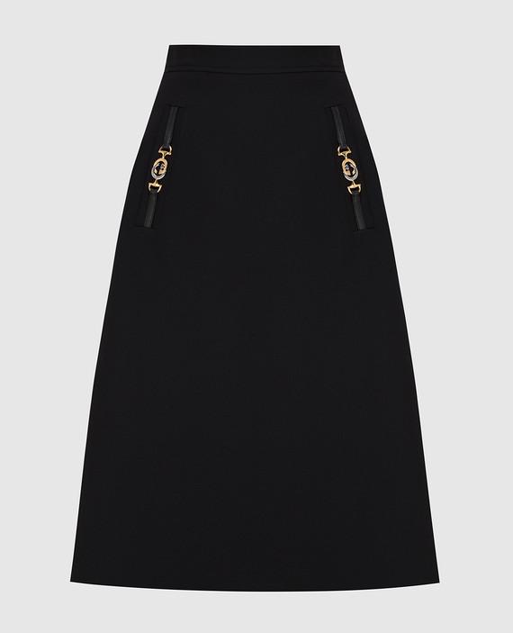 Черная юбка из шелка и шерсти
