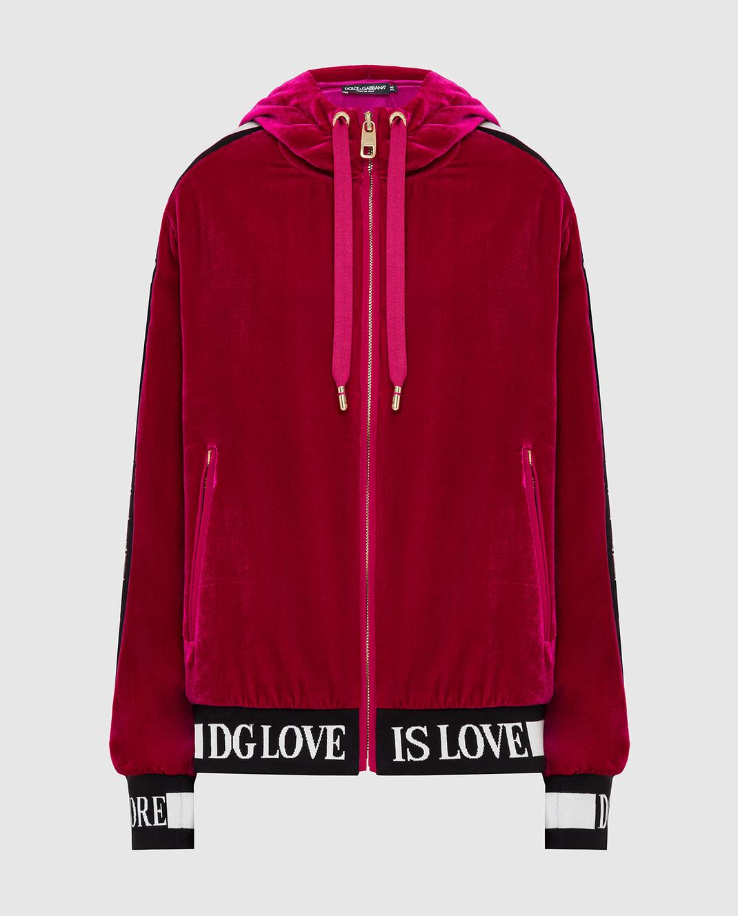 Dolce&Gabbana Бордовая бархатная спортивная кофта F9H02TG7VDM