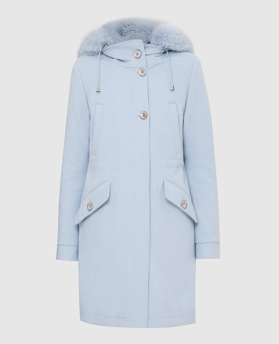 Голубое пальто из шерсти