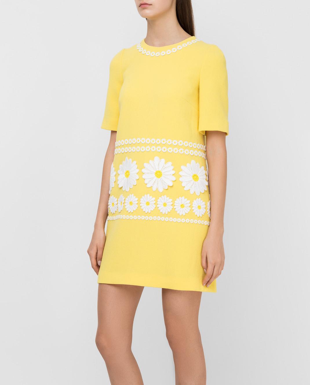 Dolce&Gabbana Желтое платье из шерсти F6UL3ZFU2TZ изображение 3