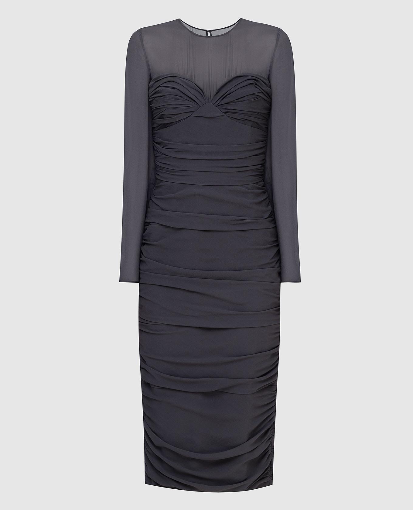 Темно-серое платье из шелка