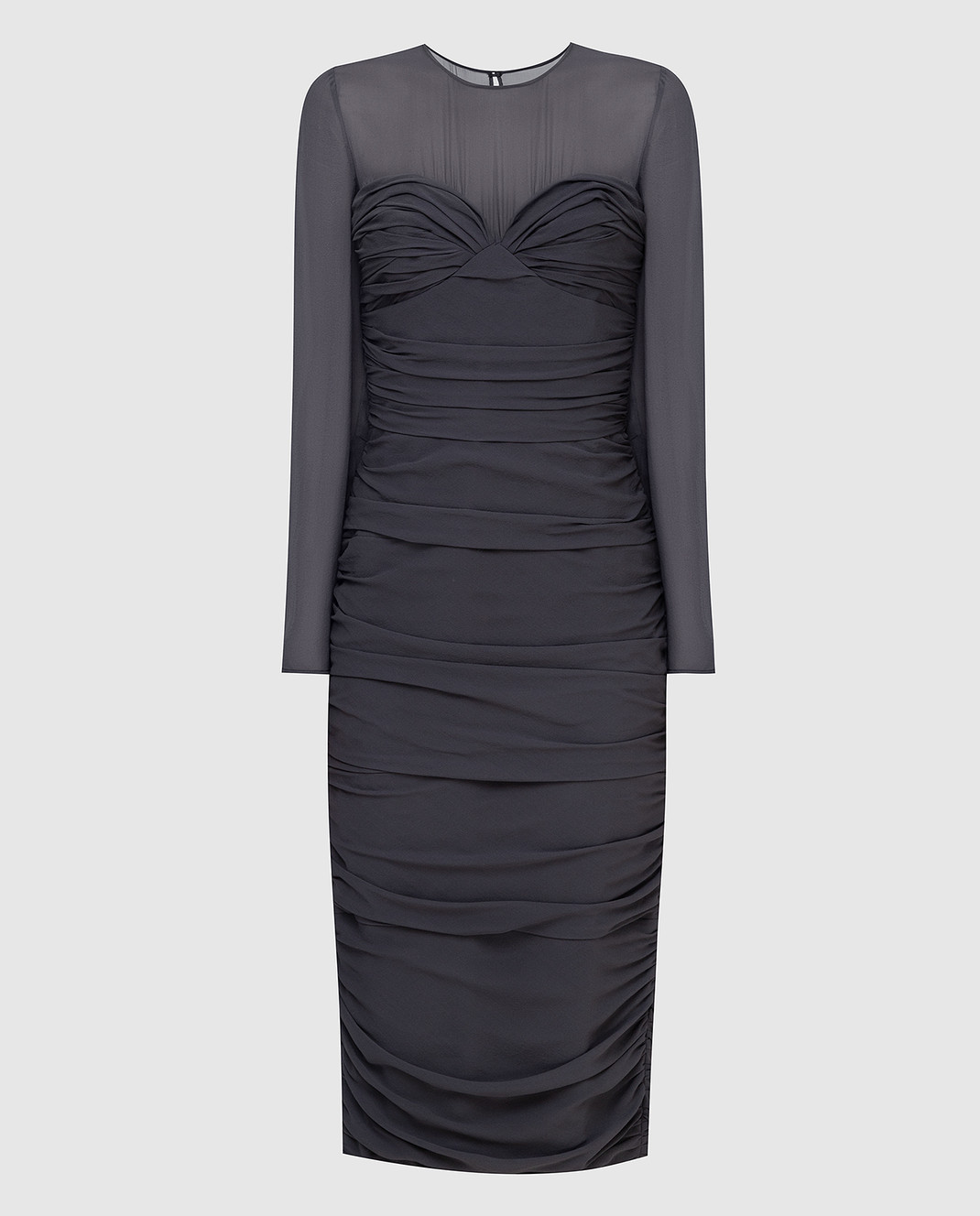 Max Mara Темно-серое платье из шелка ODER