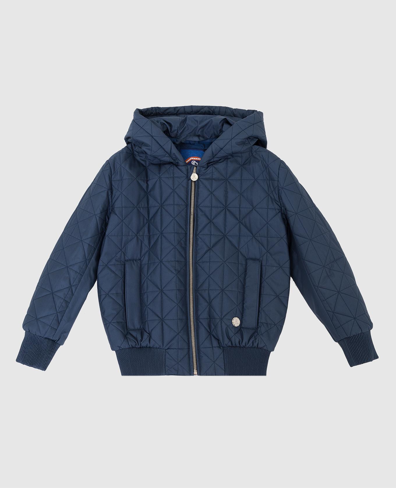 Детская темно-синяя шелковая куртка Stefano Ricci