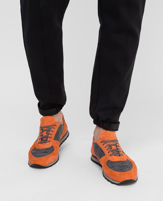Оранжевые замшевые кроссовки hover