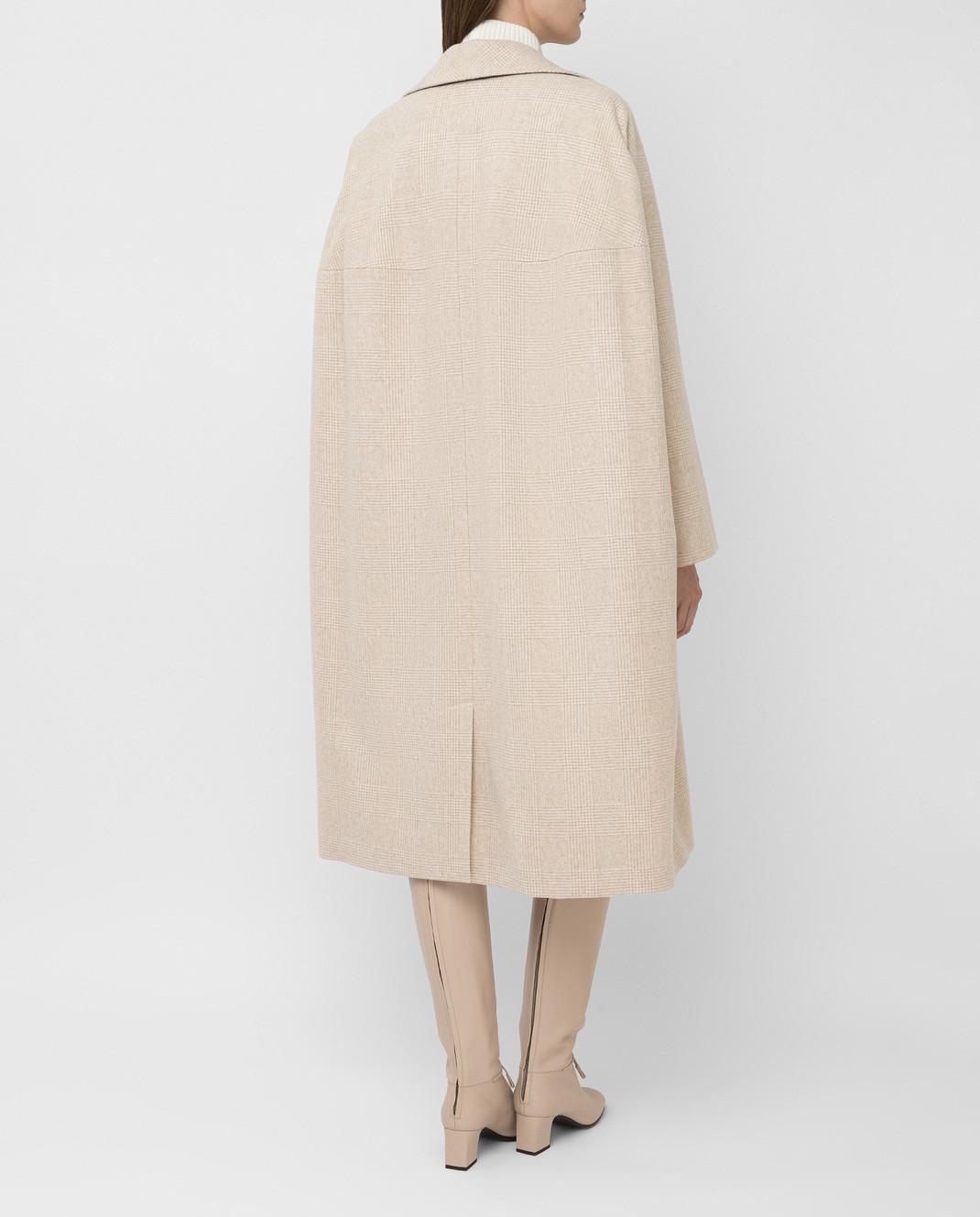 NINA RICCI Светло-бежевое пальто из шерсти изображение 4