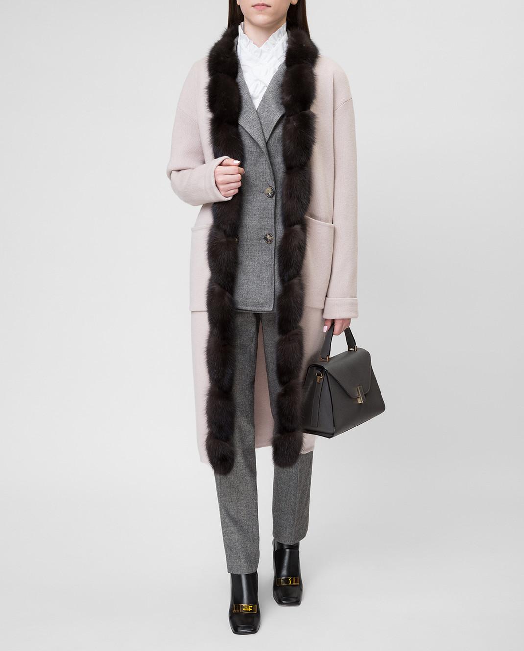 Real Furs House Бежевое пальто CSR01 изображение 2