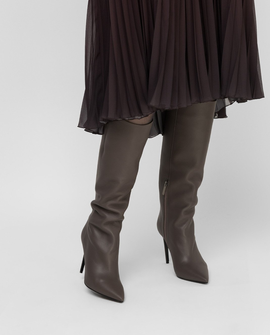 Babe Pay Pls Темно-бежевые кожаные сапоги изображение 2