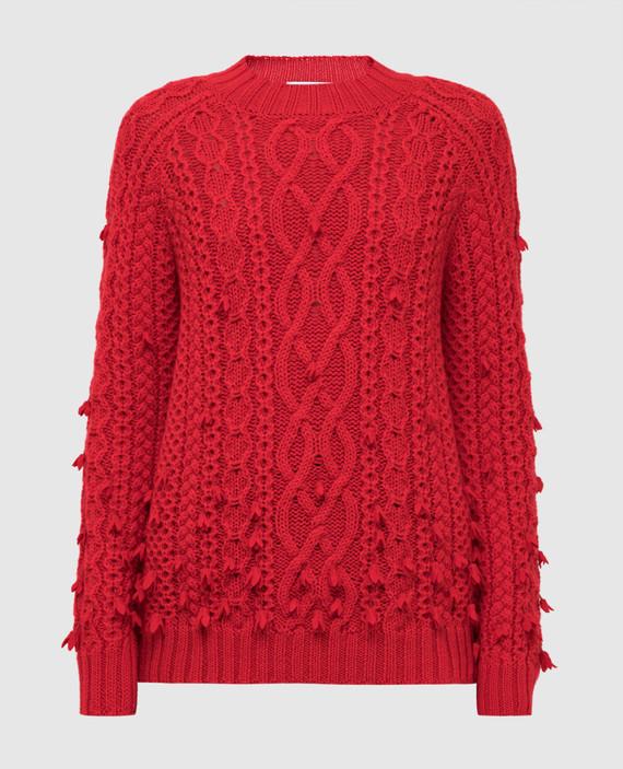 Красный свитер из шерсти
