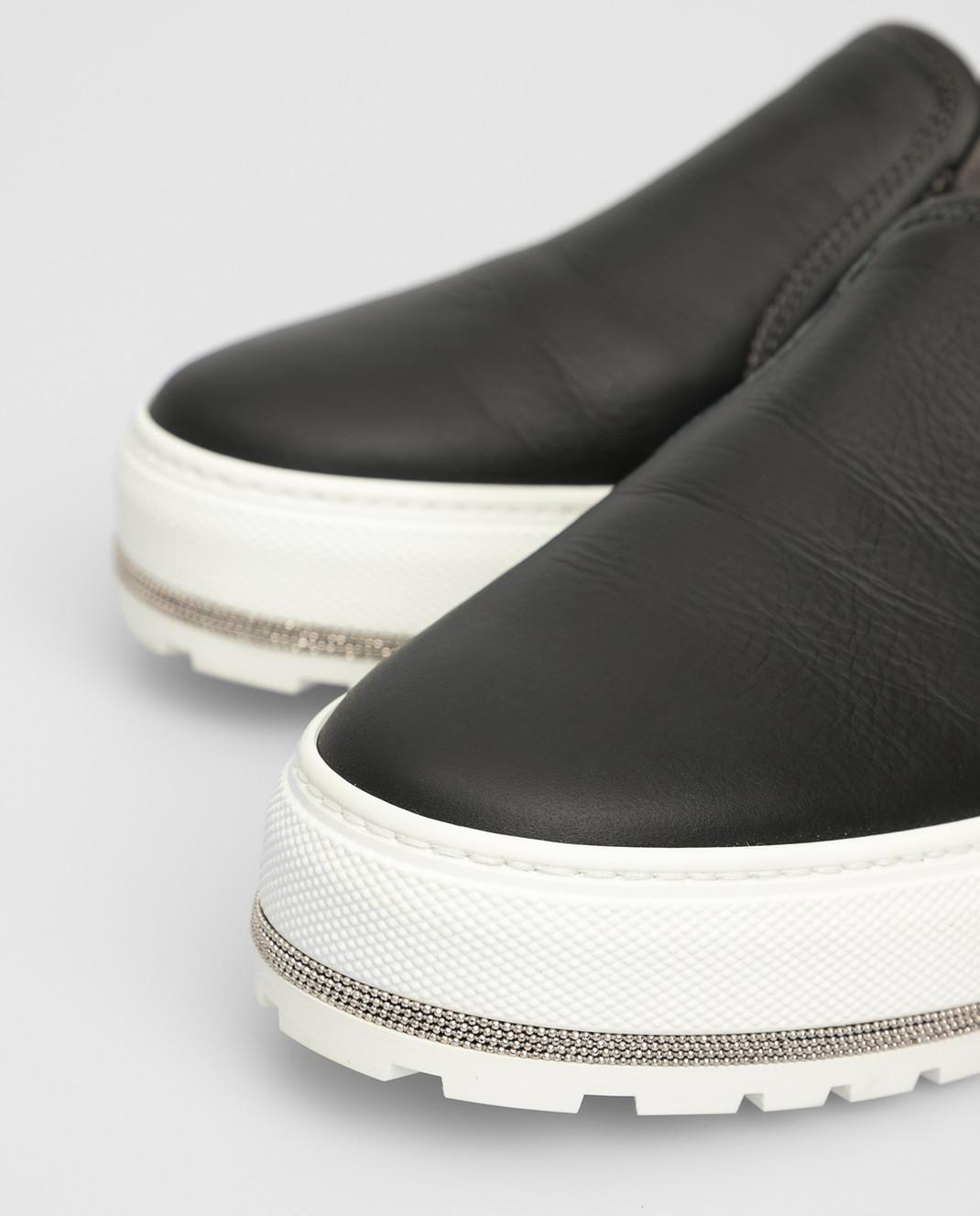 Brunello Cucinelli Черные кожаные слипоны MZDISG011P изображение 5