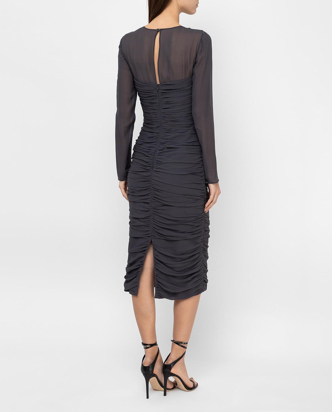 Max Mara Темно-серое платье из шелка ODER изображение 4