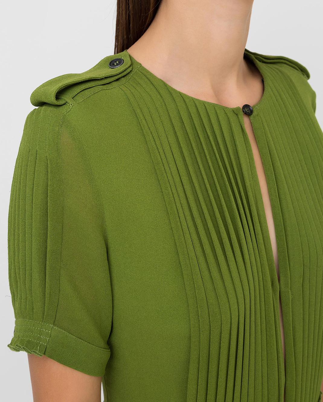 Burberry Зеленое платье из шелка изображение 5