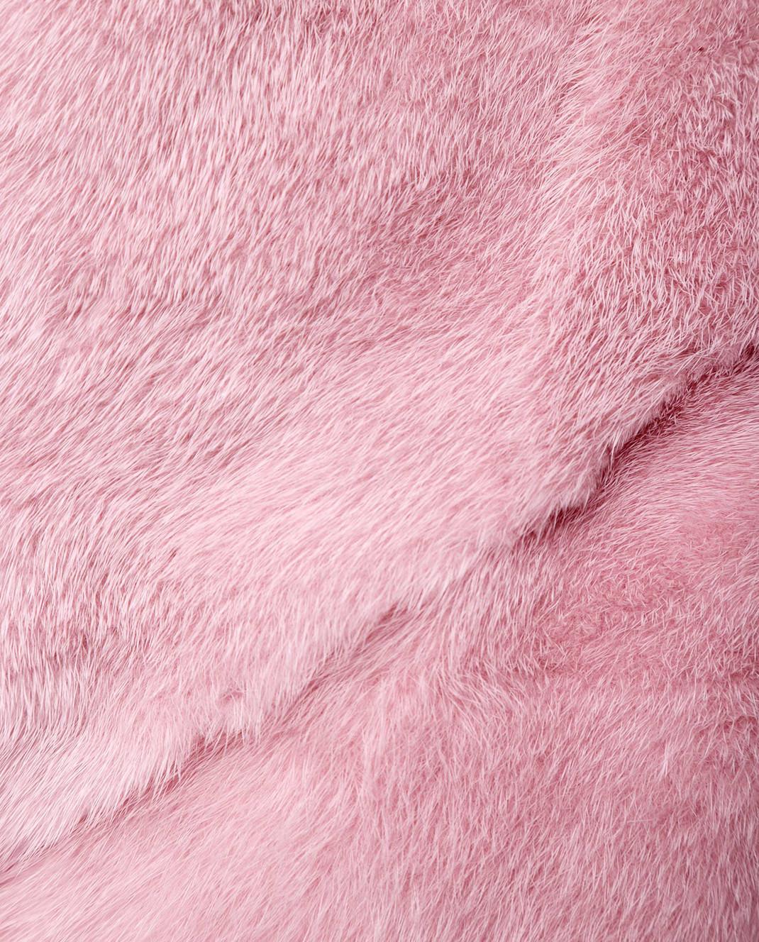 Florence Mode Розовая шуба из меха норки с поясом 18N139WHITE изображение 5