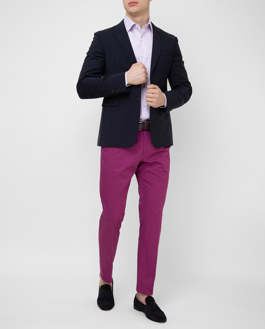Luciano Lombardi Сиреневая рубашка 4653085 изображение 2