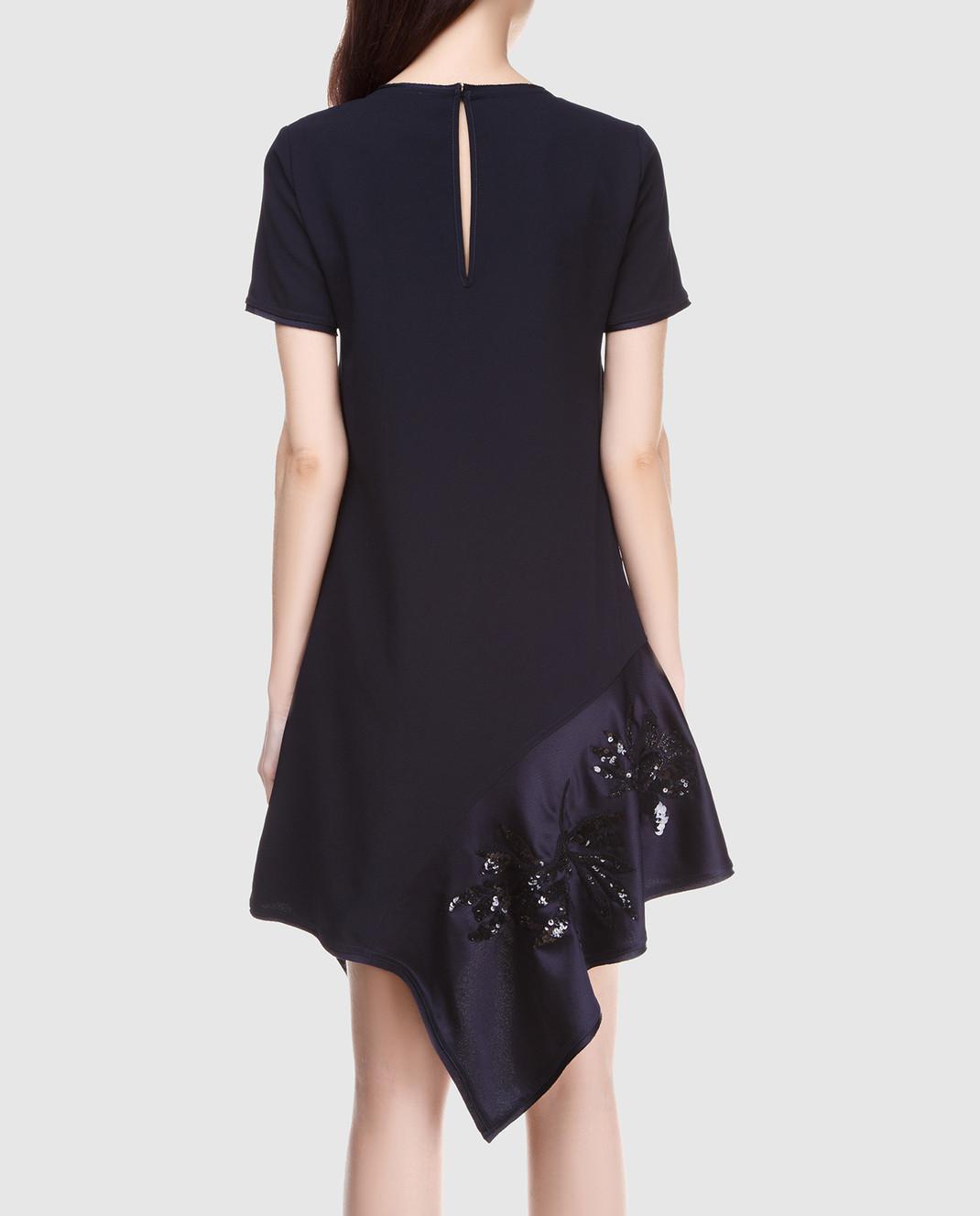 PAROSH Темно-синее платье с вышивкой пайетками D730224R изображение 4