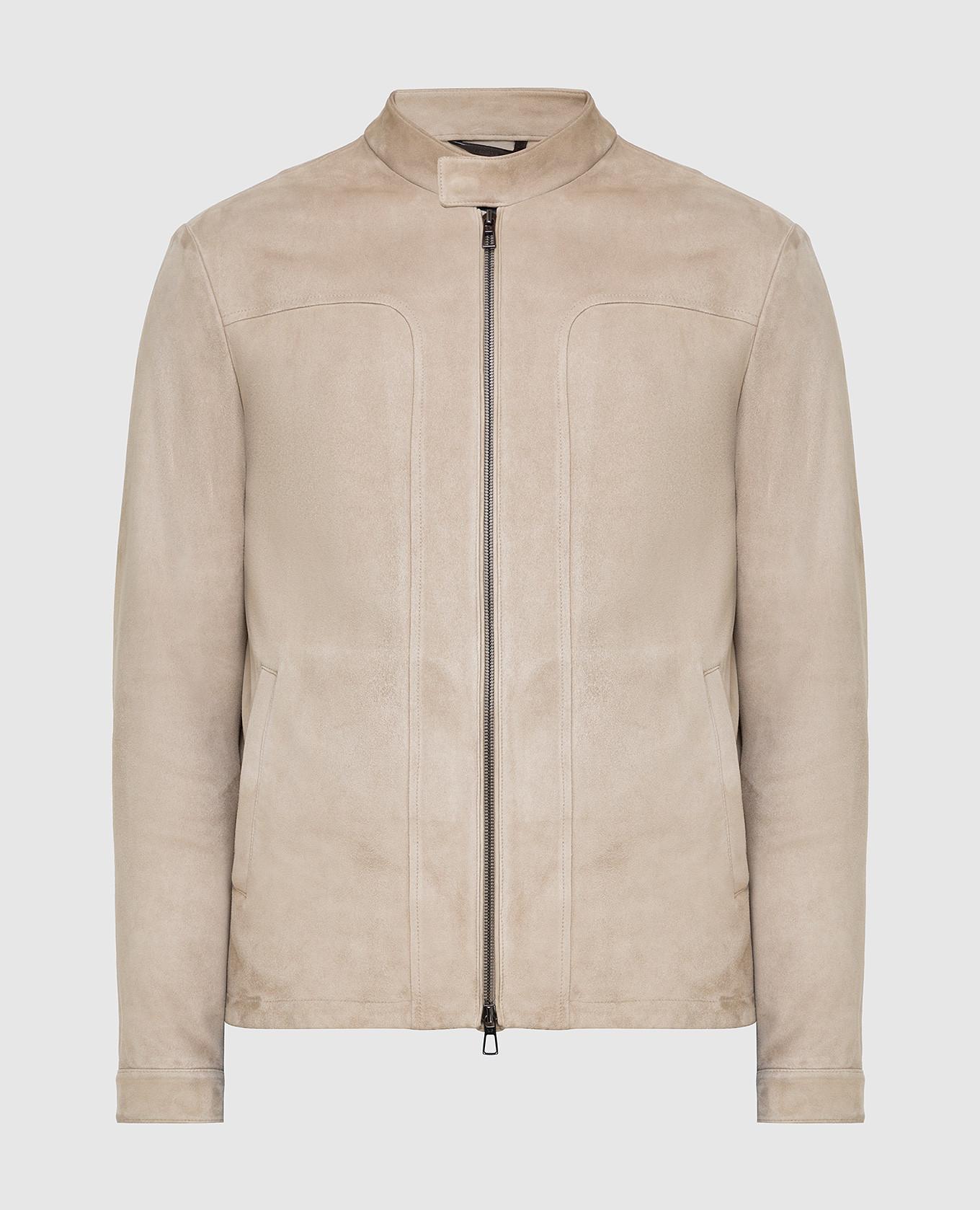 Светло-бежевая замшевая куртка