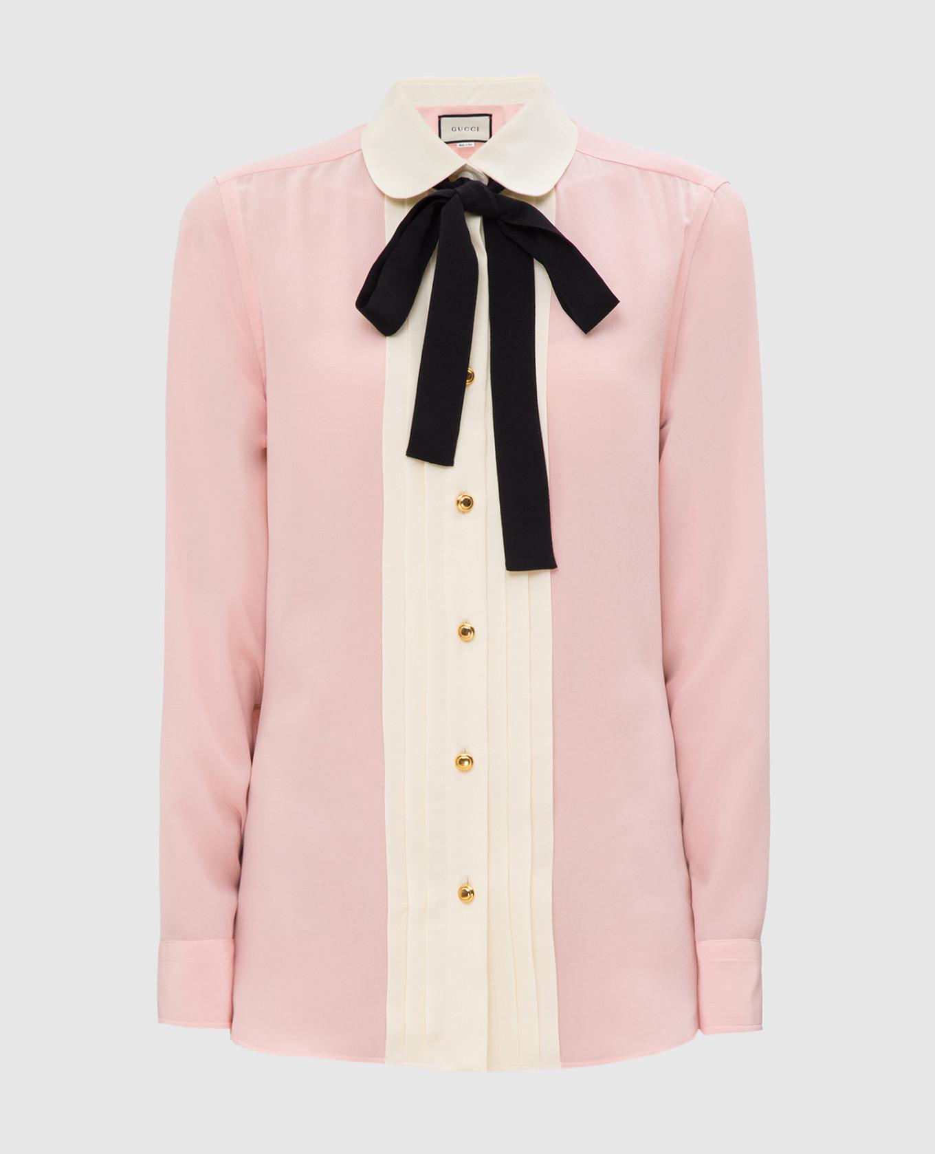 Розовая рубашка из шелка