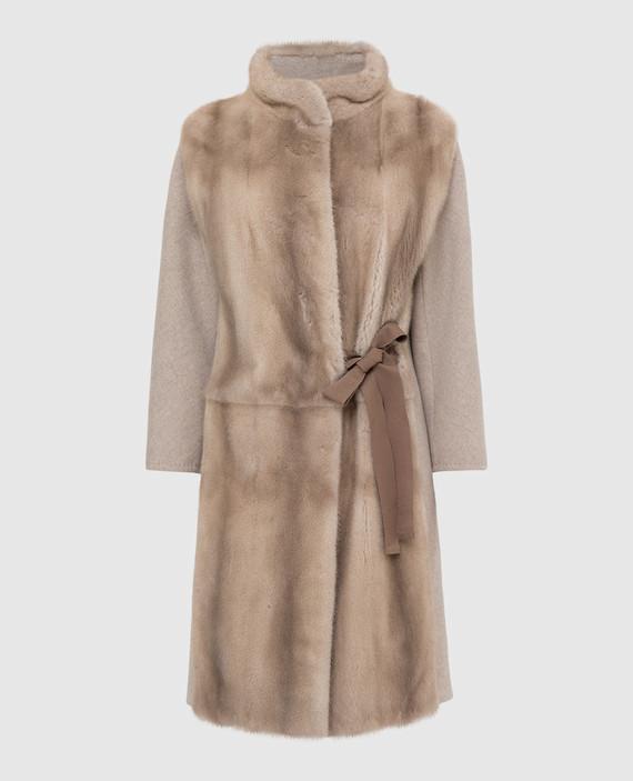 Бежевое пальто из шерсти с мехом норки
