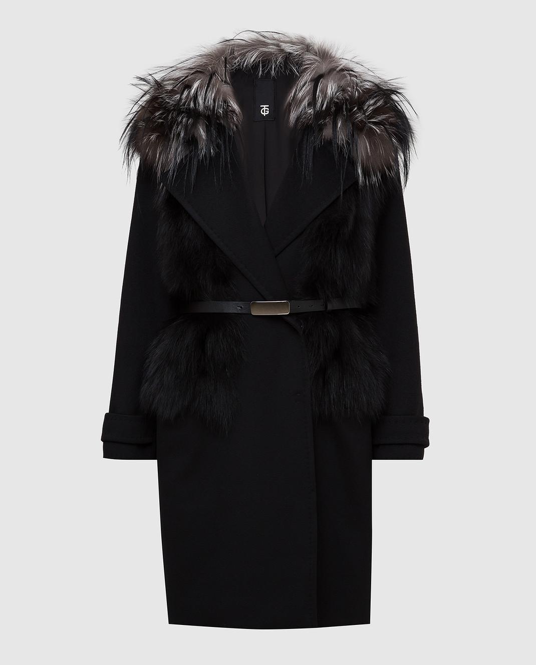 Giuliana Teso Черное пальто из шерсти и кашемира с мехом лисы 64C6060